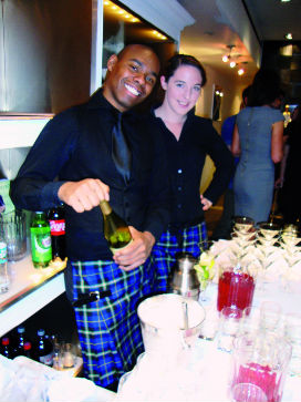 Bar staff at Get Kilted in New York wearing Kilty Aprons made from the Italian National Tartan by Clan Italia