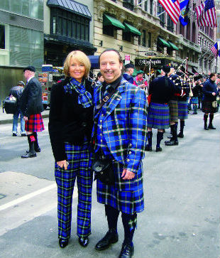 Mike and Annette Lemetti in full Italian National Tartan outfits at tartan week in New York