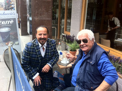 Mike Lemetti enjoys an espresso with Antonio Carluccio outside the new Glasgow restaurant