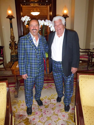 Antonio Carluccio wearing Italian National Tartan trousers with Mike Lemetti in London while getting ready for his new book launch
