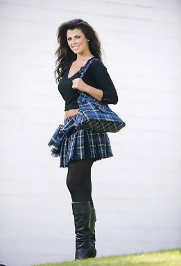 former Miss Scotland wearing a mini-kilt and handbag made from the Italian National Tartan