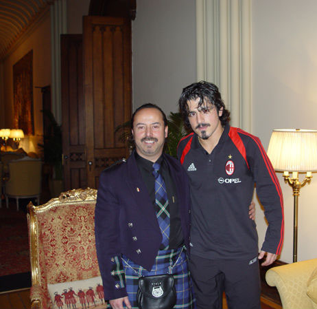 Mike Lemetti with Rino Gattuso before their game with Celtic