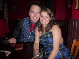 Logan Smith and gorgeous young lady friend both dressed in the Italian National Tartan. Both in London for Carluccios new book launch