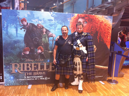 Clan Italia's Michael Lemetti and piper Nick McVicar at Visit Scotland's stand in Rome for the special showing of Disney Pixars Brave
